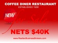 Nets $40K - Coffee Diner For Sale - Established Since 1929!
